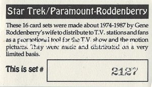 Star Trek Gene Roddenberry Promotional Set 2127 Trading Card 1