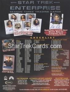 Enterprise Season Three Trading Card Sell Sheet Back