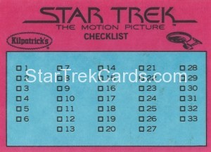 Star Trek The Motion Picture Kilpatrick's Bread Trading Card Back 1
