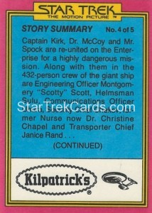 Star Trek The Motion Picture Kilpatrick's Bread Trading Card Back 2
