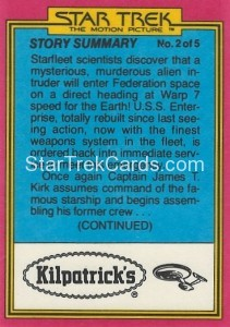 Star Trek The Motion Picture Kilpatrick's Bread Trading Card Back 22