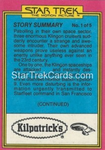 Star Trek The Motion Picture Kilpatrick's Bread Trading Card Back 3
