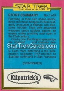 Star Trek The Motion Picture Kilpatrick's Bread Trading Card Back 3