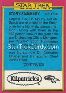 Star Trek The Motion Picture Kilpatrick's Bread Trading Card Back 30