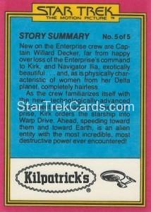 Star Trek The Motion Picture Kilpatrick's Bread Trading Card Back 32