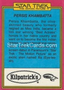 Star Trek The Motion Picture Kilpatrick's Bread Trading Card Back 9