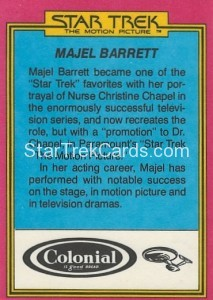 Star Trek The Motion Picture Colonial Bread Trading Card Back 12