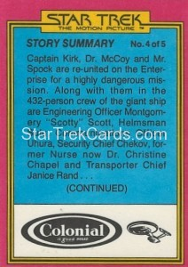 Star Trek The Motion Picture Colonial Bread Trading Card Back 2