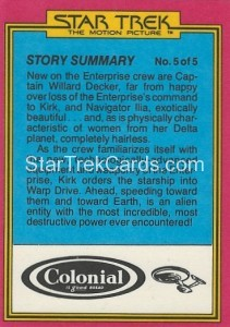 Star Trek The Motion Picture Colonial Bread Trading Card Back 20