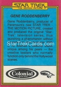 Star Trek The Motion Picture Colonial Bread Trading Card Back 28