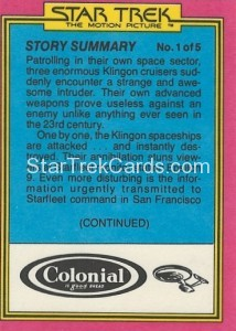 Star Trek The Motion Picture Colonial Bread Trading Card Back 3