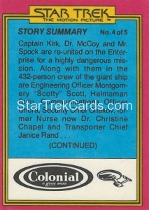 Star Trek The Motion Picture Colonial Bread Trading Card Back 30