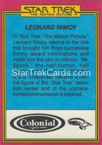Star Trek The Motion Picture Colonial Bread Trading Card Back 31