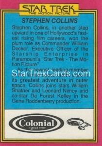 Star Trek The Motion Picture Colonial Bread Trading Card Back 8