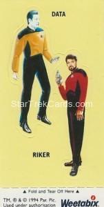Star Trek TNG and Generations Weetabix Trading Card Data Riker
