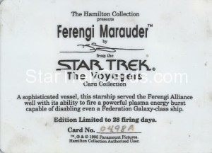 Star Trek The Voyagers Card Collection Trading Card Ferengi Marauder Back