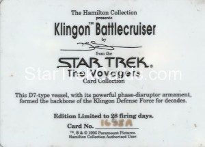 Star Trek The Voyagers Card Collection Trading Card Klingon Battlecruiser Back