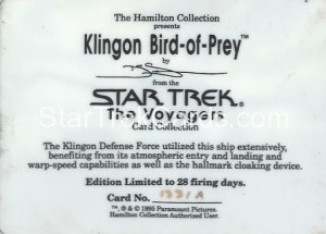 Star Trek The Voyagers Card Collection Trading Card Klingon Bird of Prey Back