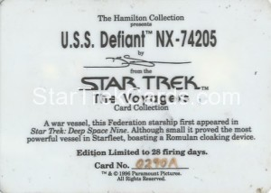 Star Trek The Voyagers Card Collection Trading Card USS Defiant NX 74205 Back