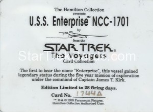 Star Trek The Voyagers Card Collection Trading Card USS Enterprise NCC 1701 Back