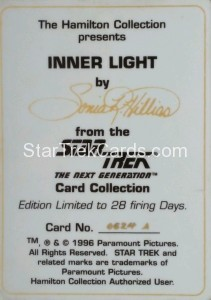Star Trek The Next Generation Card Collection Hamilton Inner Light Back