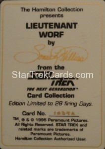 Star Trek The Next Generation Card Collection Hamilton Lieutenant Worf Back
