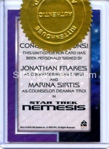 Star Trek The Next Generation Portfolio Prints Series One Autograph Frakes Sirtis Back