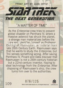 Star Trek The Next Generation Portfolio Prints Series One Trading Card Gold 109 Back