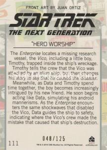 Star Trek The Next Generation Portfolio Prints Series One Trading Card Gold 111 Back