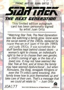 Star Trek The Next Generation Portfolio Prints Series One Trading Card JOA177 Back