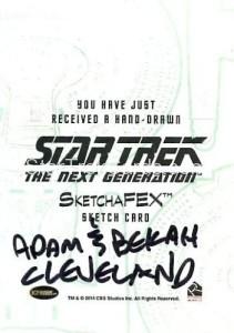 Star Trek The Next Generation Portfolio Prints Series One Trading Card Sketch Adam Bekah Cleveland Back