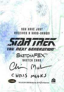Star Trek The Next Generation Portfolio Prints Series One Trading Card Sketch Chris Meeks Back