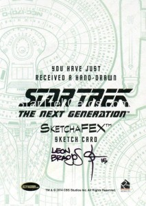 Star Trek The Next Generation Portfolio Prints Series One Trading Card Sketch Leon Braojos Back