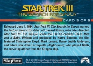 1993 The Starfleet Collection Trading Card Back 3