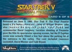1993 The Starfleet Collection Trading Card Back 5