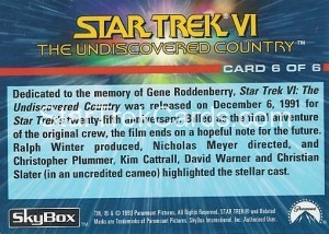 1993 The Starfleet Collection Trading Card Back 6