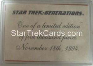 1994 Star Trek Generations Metal Trading Card Back