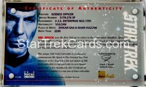 Kirk Spock Gold Cards Trading Card Mr Spock Back