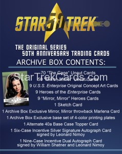 Star Trek The Original Series 50th Anniversary Trading Card Archive Box Contents