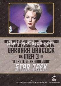 Star Trek The Original Series 50th Anniversary Trading Card Black Border Autograph Barbara Babcock Back