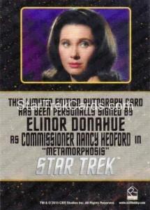 Star Trek The Original Series 50th Anniversary Trading Card Black Border Autograph Elinor Donahue Back