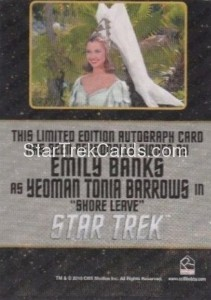 Star Trek The Original Series 50th Anniversary Trading Card Black Border Autograph Emily Banks Back