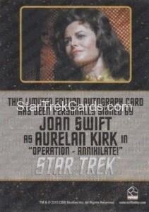 Star Trek The Original Series 50th Anniversary Trading Card Black Border Autograph Joan Swift Back