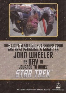 Star Trek The Original Series 50th Anniversary Trading Card Black Border Autograph John Wheeler Back