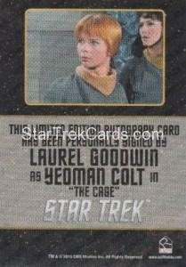 Star Trek The Original Series 50th Anniversary Trading Card Black Border Autograph Laurel Goodwin Back