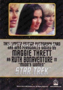 Star Trek The Original Series 50th Anniversary Trading Card Black Border Autograph Maggie Thrett Back