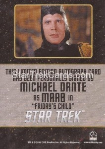 Star Trek The Original Series 50th Anniversary Trading Card Black Border Autograph Michael Dante Back