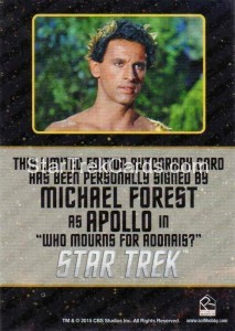 Star Trek The Original Series 50th Anniversary Trading Card Black Border Autograph Michael Forest Back