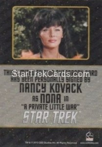 Star Trek The Original Series 50th Anniversary Trading Card Black Border Autograph Nancy Kovack Back