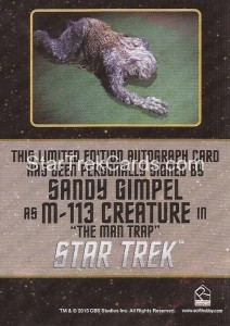 Star Trek The Original Series 50th Anniversary Trading Card Black Border Autograph Sandy Gimpel Back
